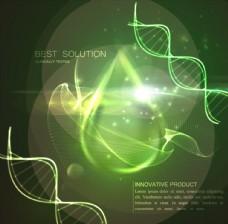 绿色DNA分子结构水滴光效背景