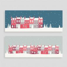 手绘红房子圣诞节海报背景模板