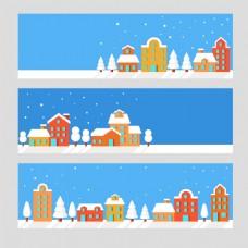 红房子蓝色圣诞海报背景模板