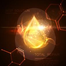 金色水滴分子结构光效背景