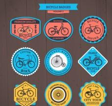 彩色自行车店徽章矢量设计素材