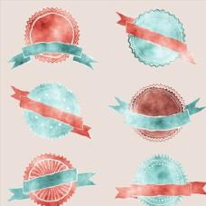 水彩绘空白丝带徽章矢量设计