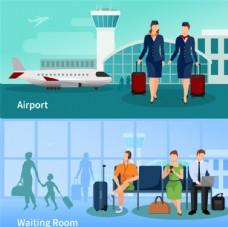 机场空姐和候机人士