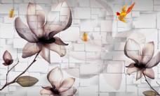 3D方块素雅花卉