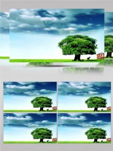 蓝天白云草地清新高清视频素材