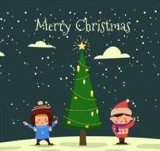创意圣诞树和2个男孩矢量图